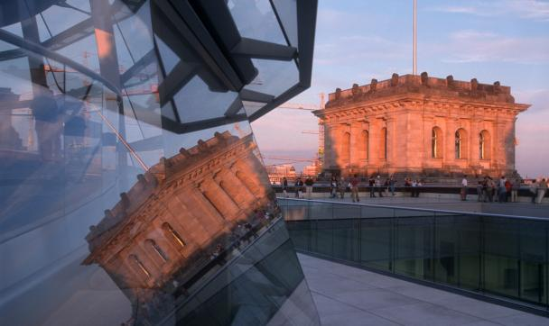 Roof terrace on the Reichstag at evening light