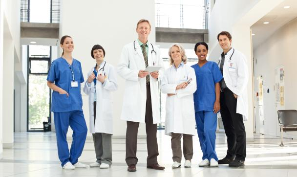 doctors standing together in a hospital